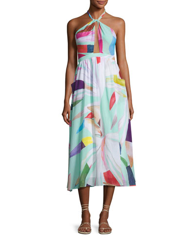 Halter Printed Organic Cotton Coverup Midi Dress, Light Blue Multicolor