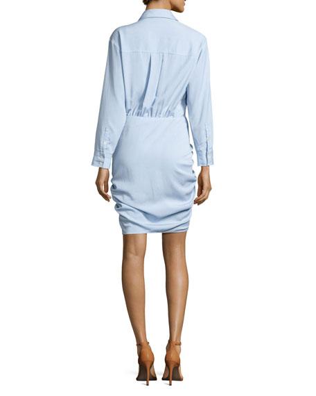 Sierra Ruched Chambray Mini Dress, Light Blue