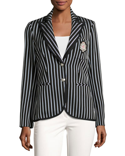 Spirit Striped Pique Blazer, Black/Blue