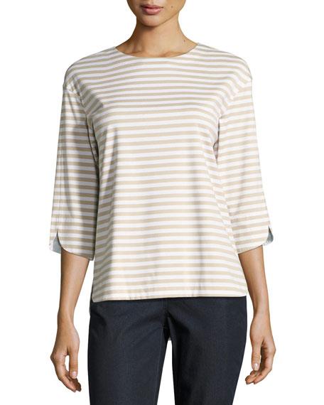 Lafayette 148 New York 3/4-Sleeve Striped Jersey Tee