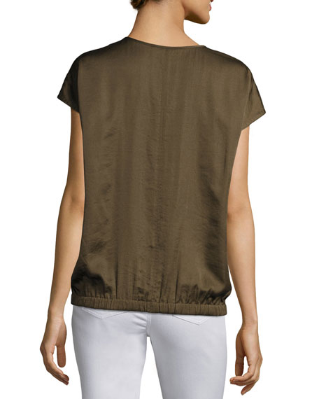 Aisley Short-Sleeve Luminous Cloth Blouse, Dark Green
