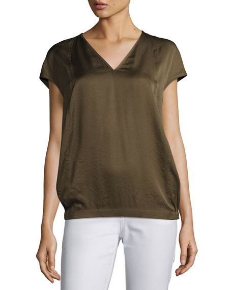 Lafayette 148 New York Aisley Short-Sleeve Luminous Cloth