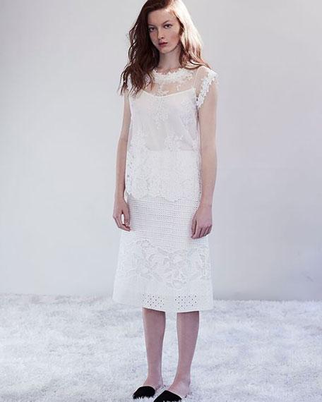 Tula Sleeveless Lace Blouse, White
