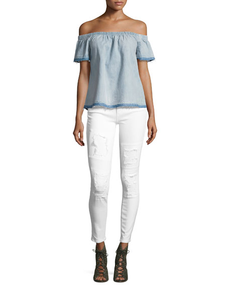 Halle Mid-Rise Destroyed Patch Skinny Jeans, Optic White