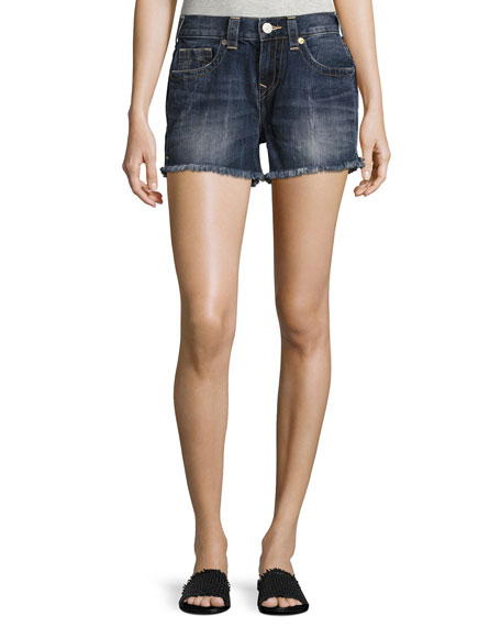 True Religion Kori Cutoff Boyfriend Shorts, Oceana Blue