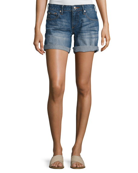 True Religion Emma Cuffed Bermuda Shorts, Blue Fest