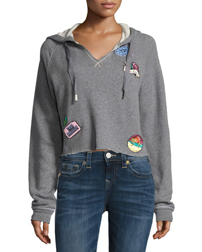 Pullover Hoodie with Patch Appliqués, Heather Gray