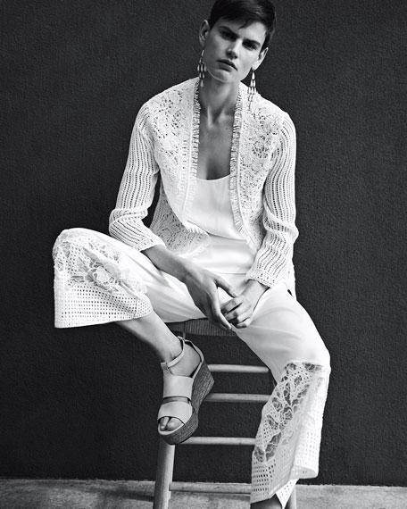 Taya Embroidered Cotton Eyelet Jacket, White