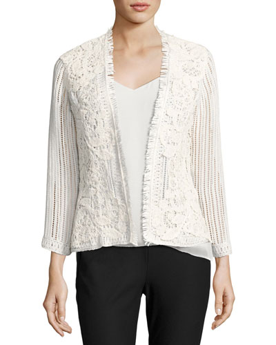 Taya Embroidered Cotton Eyelet Jacket, White