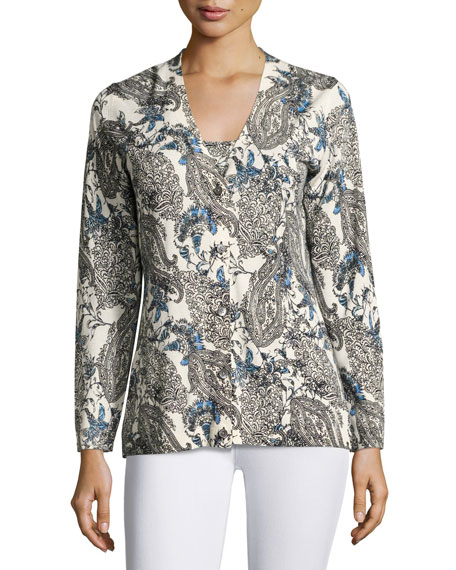 Neiman Marcus Cashmere Collection Superfine Lily Paisley V-Neck
