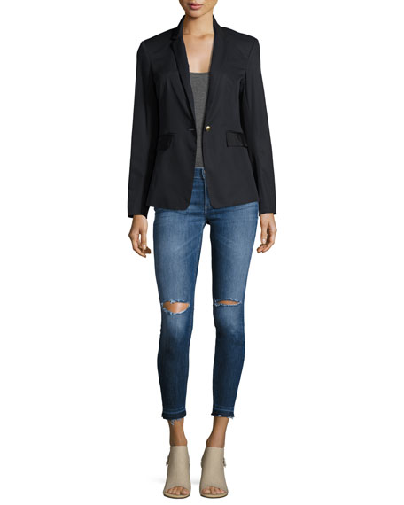 Mid-Rise Skinny Capri Jeans with Released Hem, Lily Dale
