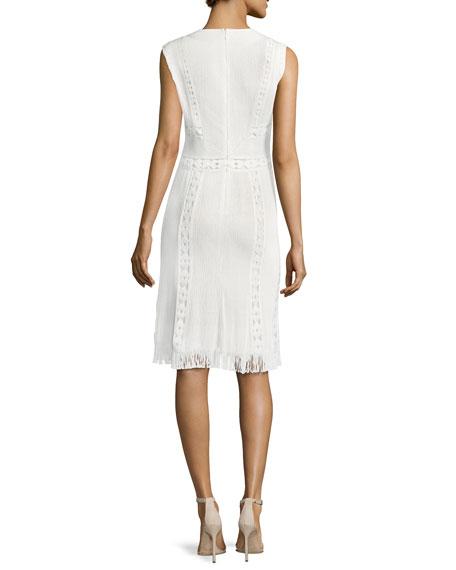 Amani Sleeveless Fringe-Hem Crepe Dress, White