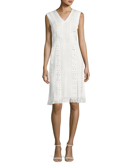 Kobi Halperin Amani Sleeveless Fringe-Hem Crepe Dress, White