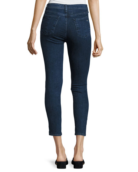 10 Inch Skinny Capri Jeans with Slit, Clean Dark Paz