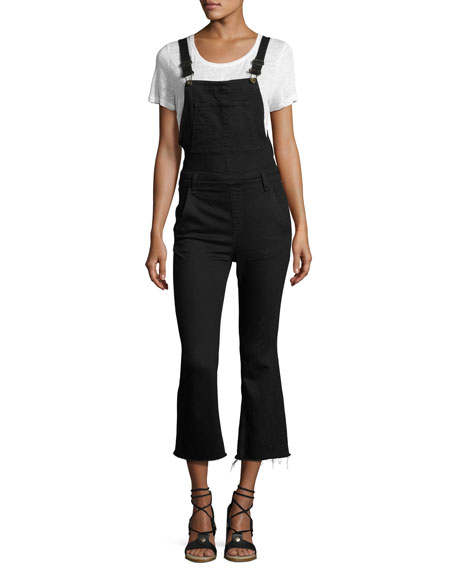 rag & bone/JEAN Cropped Kick-Flare Overalls, Coal