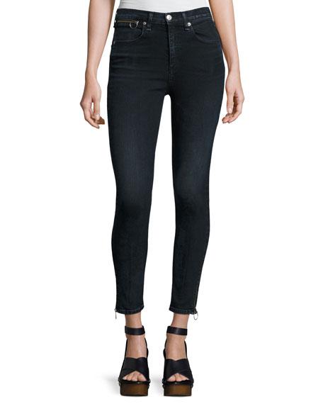 rag & bone/JEAN O-Ring Dive Capri Jeans, Black