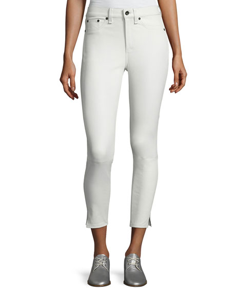 Leather 10 Inch Capri with Slits, White