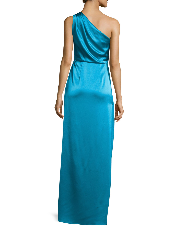 ZAC Zac Posen One-Shoulder Ruched Satin Gown, River Blue   Neiman Marcus