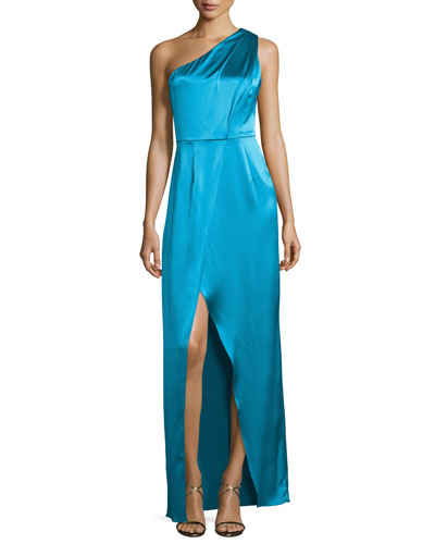One-Shoulder Ruched Satin Gown, River Blue