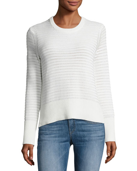 Elsie Flyaway-Back Crewneck Sweater, White