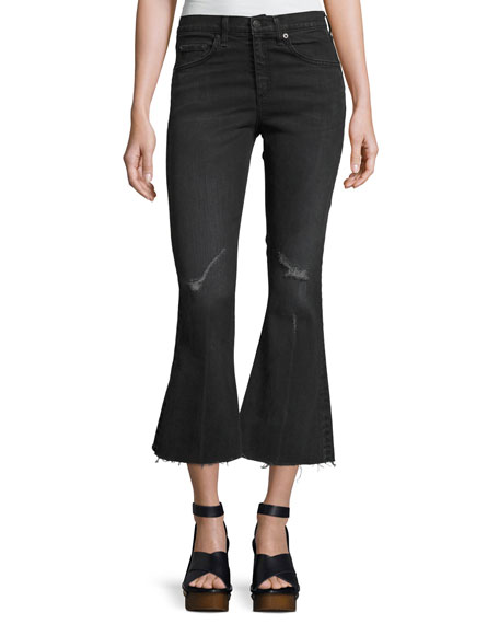 rag & bone/JEAN High-Waist Cropped Flare-Leg Jeans, Blackthorne
