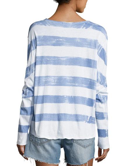 Washed Stripe Long-Sleeve Tee, Fog/White