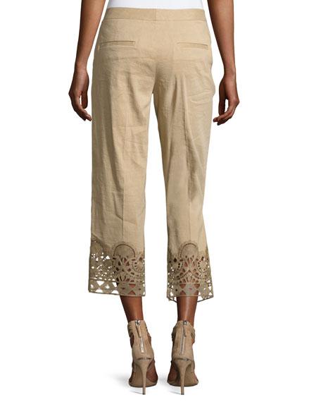 Oriana Lace-Hem Linen-Blend Ankle Pants