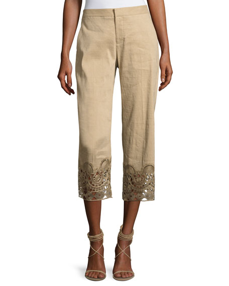 Kobi Halperin Oriana Lace-Hem Linen-Blend Ankle Pants and