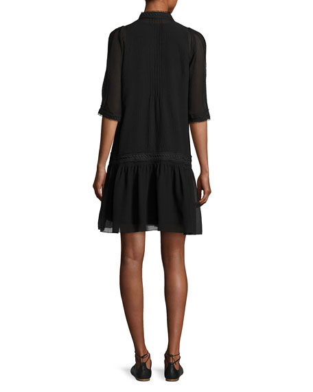Justina Embroidered Drop-Waist Chiffon Dress, Black