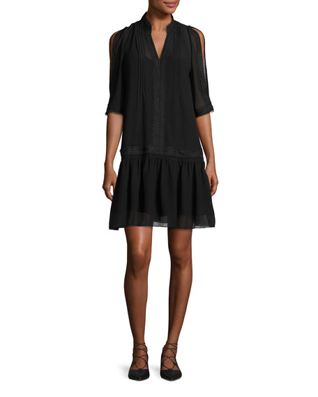 Kobi Halperin Justina Embroidered Drop-Waist Chiffon Dress, Black