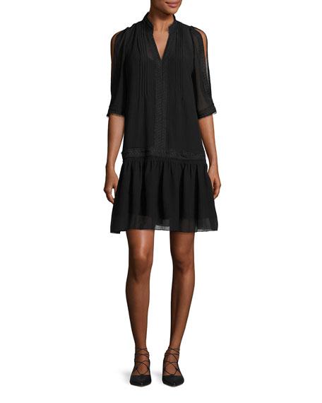 Kobi Halperin Justina Embroidered Drop-Waist Chiffon Dress, Black