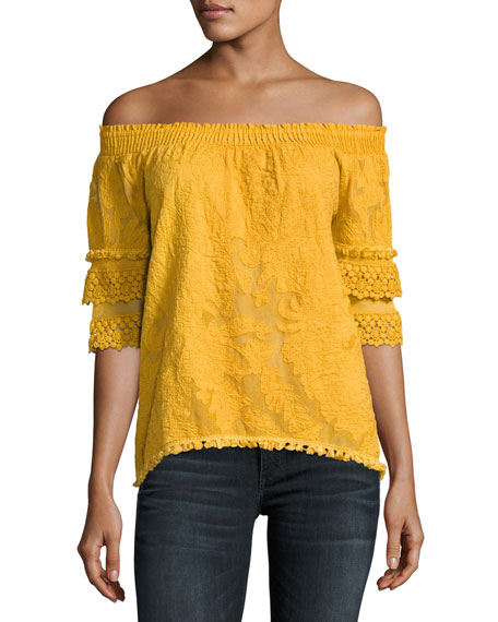 Jody Embroidered Lace Off-the-Shoulder Blouse, Amber