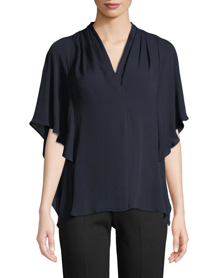Kobi Halperin Carin Ruffled-Sleeve Silk Blouse, Black
