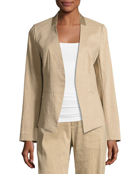 Claudia Lace-Trim Linen-Blend Blazer Jacket