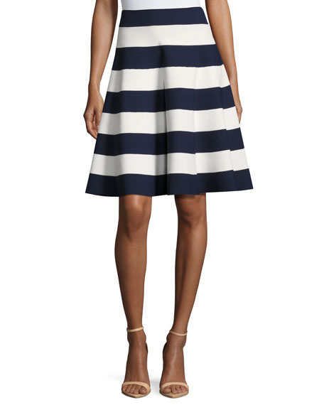 Striped Flared Circle Skirt