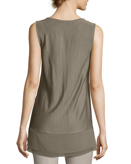 Textured Chiffon-Trim Tank Top, Plus Size
