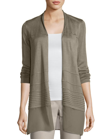 NIC+ZOE Textured Chiffon-Trim Cardigan, Plus Size