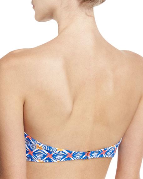 Elba Mosaic-Print Bandeau Bikini Swim Top, Multicolor