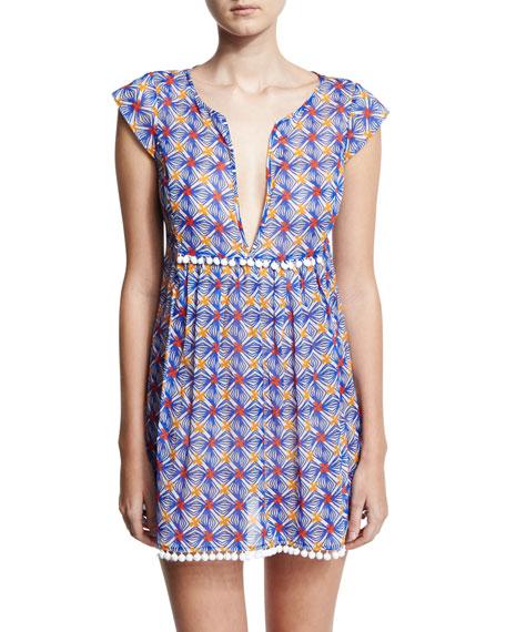 Milly Mosaic-Print Pompom Coverup Mini Dress, Blue Multicolor