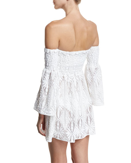 Floral Crochet Off-the-Shoulder Smocked Coverup Mini Dress, White