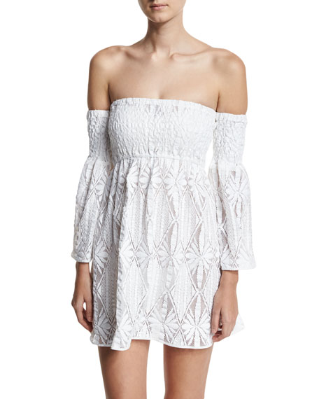 Milly Floral Crochet Off-the-Shoulder Smocked Coverup Mini Dress,