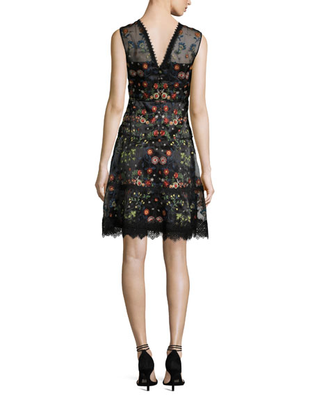 Maritza Sleeveless Floral-Embroidered Satin Dress, Black Multi