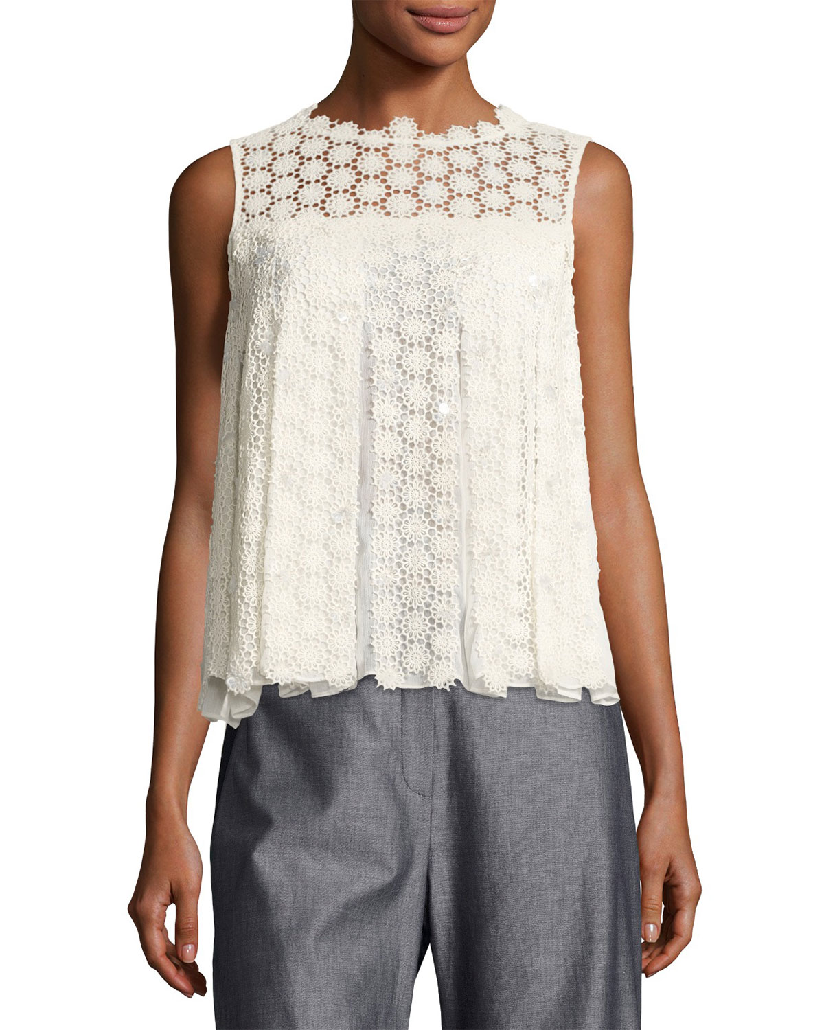 e3af543c87af6c Elie Tahari Dionne Sleeveless Cotton Lace Blouse