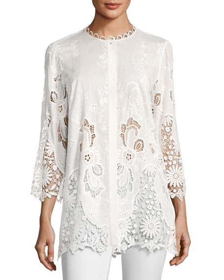 Elie Tahari Dillon 3/4-Sleeve Floral Eyelet Lace Blouse