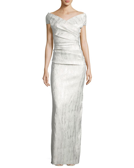 Off-the-Shoulder Ruched Jacquard Column Gown, Champagne