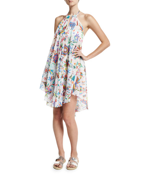 Milly Italian Folkloric Tahiti Floral-Print Halter Coverup Dress,