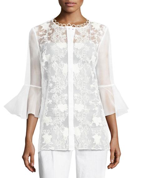 Elie Tahari Avon Bell-Sleeve Embroidered Organza Blouse, White
