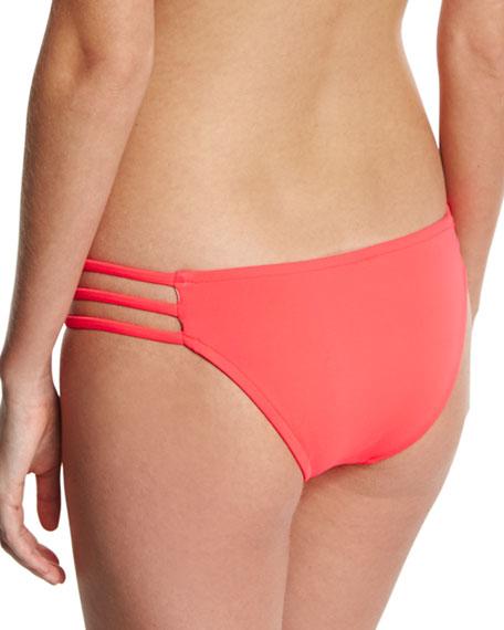 Lanai Italian Solid Strappy Swim Bikini Bottom, Pink