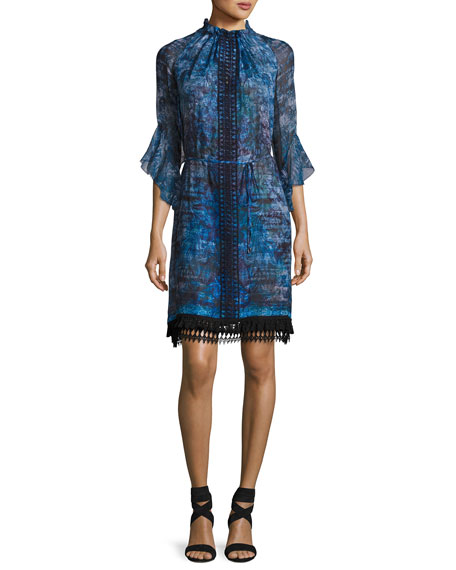 Rayna 3/4-Sleeve Floral-Print Chiffon Dress, Blue