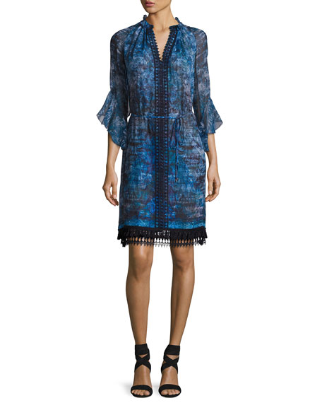 Elie Tahari Rayna 3/4-Sleeve Floral-Print Chiffon Dress, Blue